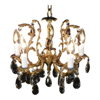 Vintage French 5 Arm 5 Lite Petite Brass Cut Lead Crystal Chandelier For Sale