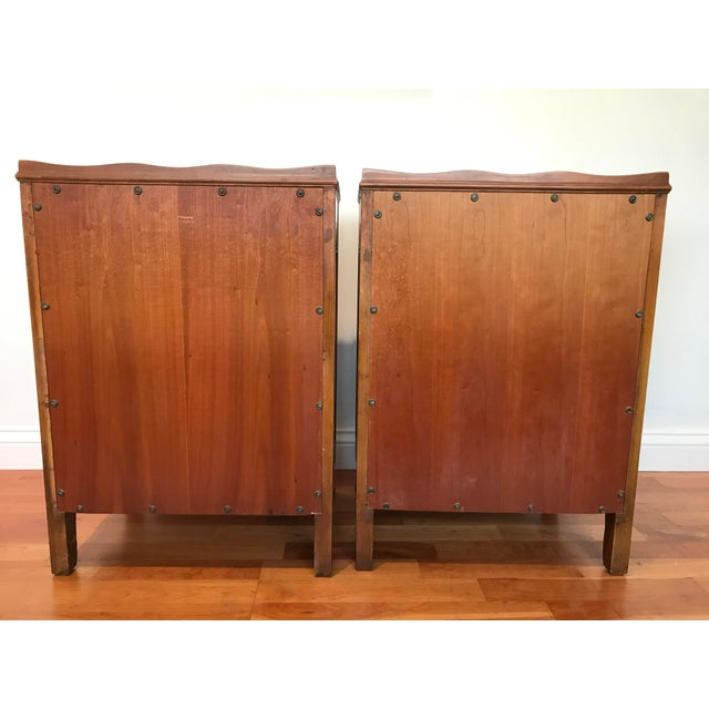 Vintage John Widdicomb of Grand Rapids Michigan Solid Cherry Wood Nightstands End Tables Country French Provincial With Gallery Rail - a Pair For Sale - Image 6 of 10