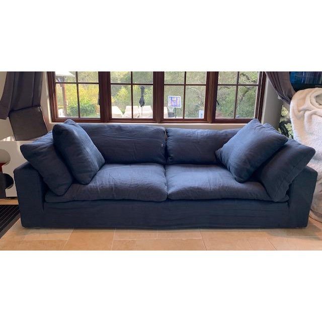 Restoration Hardware Navy Cloud 2 Seat Down Sofa For Sale - Image 13 of 13