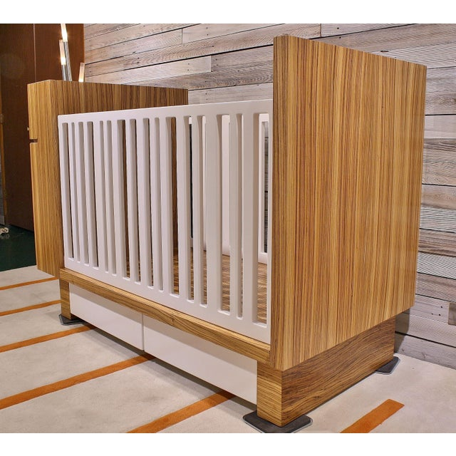 Children's Modern Zebrawood Crib and Built-In Changing Table For Sale - Image 3 of 5