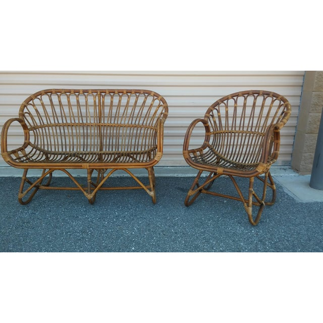 Vintage Franco Albini Rattan Loveseat and Chair - a Pair For Sale - Image 13 of 13