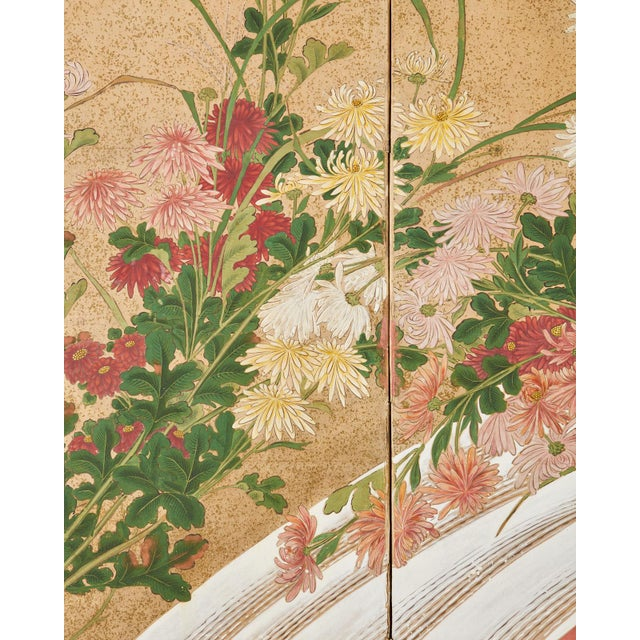 Japanese Six Panel Meiji Screen Chrysanthemums and Waterfall For Sale In San Francisco - Image 6 of 13