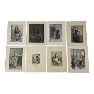 1892 Antique French Literature Prints - Set of 8 For Sale
