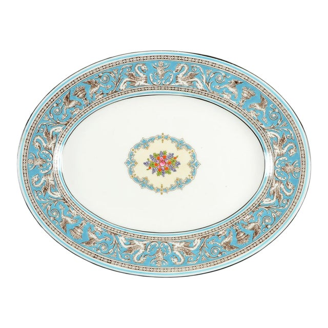 "Wedgwood Florentine Turquoise 11"" Oval Serving Platter For Sale"