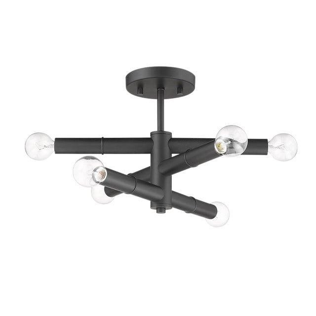 Linear 6 Light Semi-Flush Ceiling, Matte Black For Sale