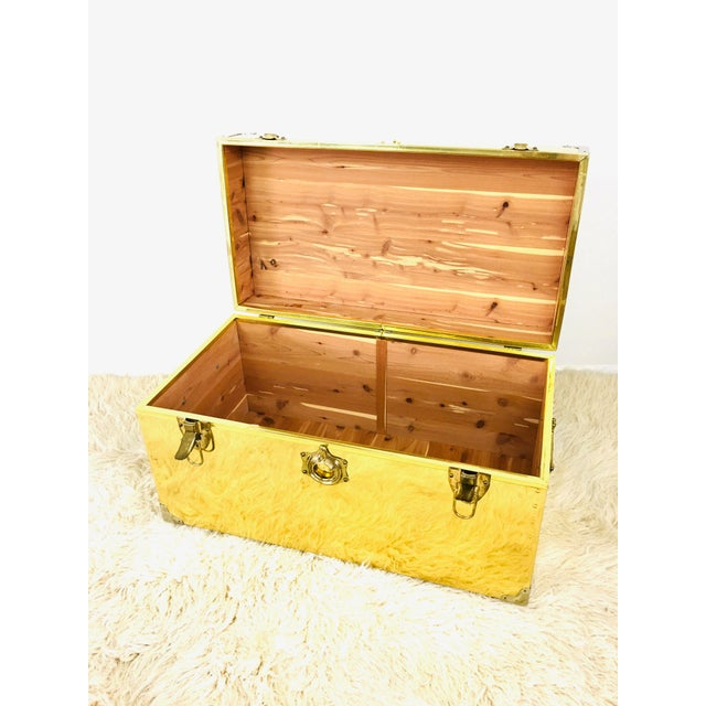 Metal Vintage Campaign Chest Coffee Table Trunk For Sale - Image 7 of 10
