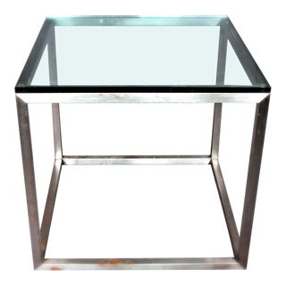 Mid Century Modern Large Glass Top End Table For Sale
