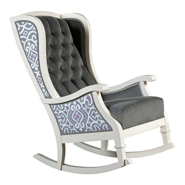 Handmade Wingback White Wooden Rocking Chair - Image 3 of 7
