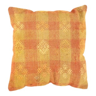 Vintage Turkish Kilim Orange Pillow For Sale
