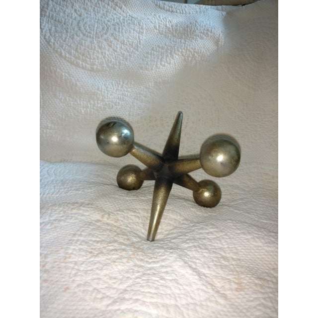 Mid-Century Brass Jack Game Bookend For Sale - Image 4 of 5