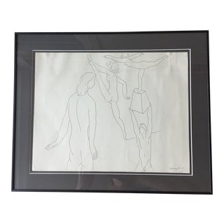 Mid Century Figural Sketch, Signed For Sale