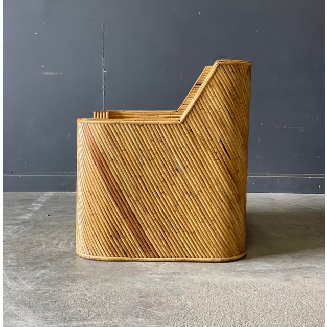Outrageous Vintage Bamboo Club Chair and Ottoman For Sale In New York - Image 6 of 12