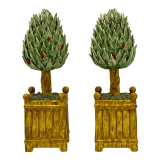 Pair of Chelsea House Port Royal Topiary Candle Holders For Sale