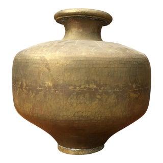 Vintage Solid Brass Vase For Sale