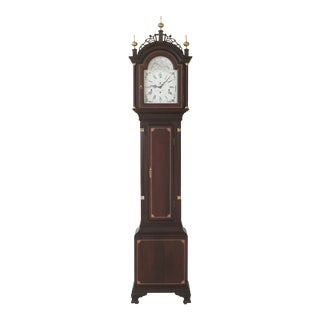Federal Style Inlaid Cherry Grandfather Cased Clock For Sale