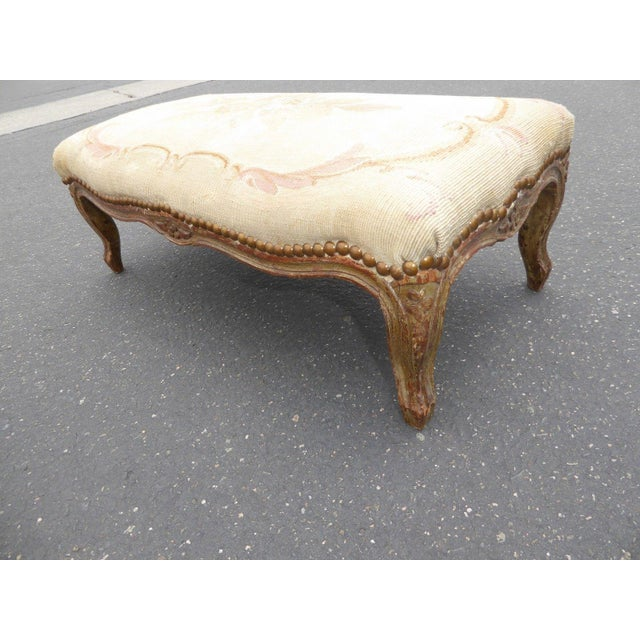 1960s Antique Carved Wood Floral Tapestry Footstool For Sale - Image 11 of 13