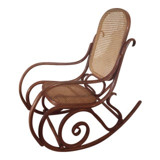 1960s Vintage Thonet Style Bentwood Rocking Chair For Sale
