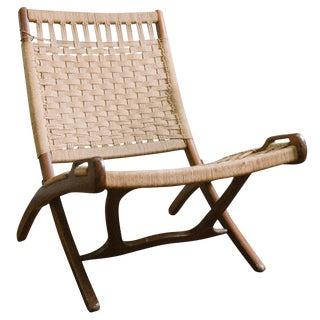 1960s Danish Modern Hans Wegner Style Rope Lounge Chair