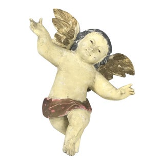 Handcarved Wood Hanging Angel For Sale