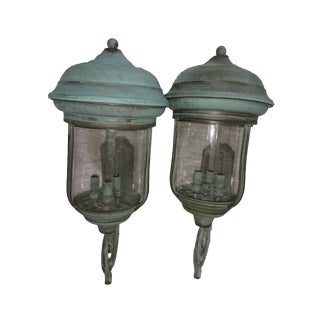 Handcrafted French Country Wall Lantern - A Pair For Sale