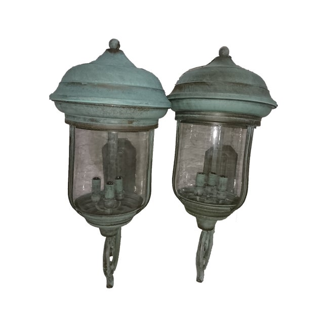 Handcrafted French Country Wall Lantern - A Pair - Image 1 of 10