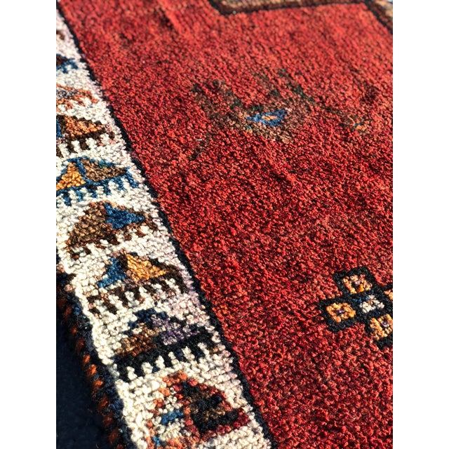 Red 1950s Vintage Persian Kurdish Runner Rug - 4′7″ × 12′2″ For Sale - Image 8 of 13