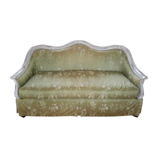 Highland House Celadon Damask Settee For Sale