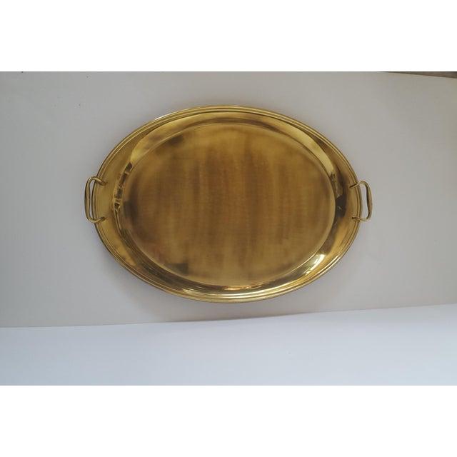 Brass Large Vintage Hollywood Regency Brass Handled Serving Tray For Sale - Image 7 of 11