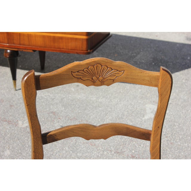 1910s Vintage French Country Rush Seat Solid Walnut Dining Chairs - Set of 6 For Sale - Image 12 of 13