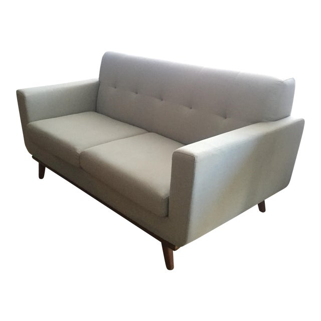 Mid-Century Blue Gray Loveseat - Image 1 of 8