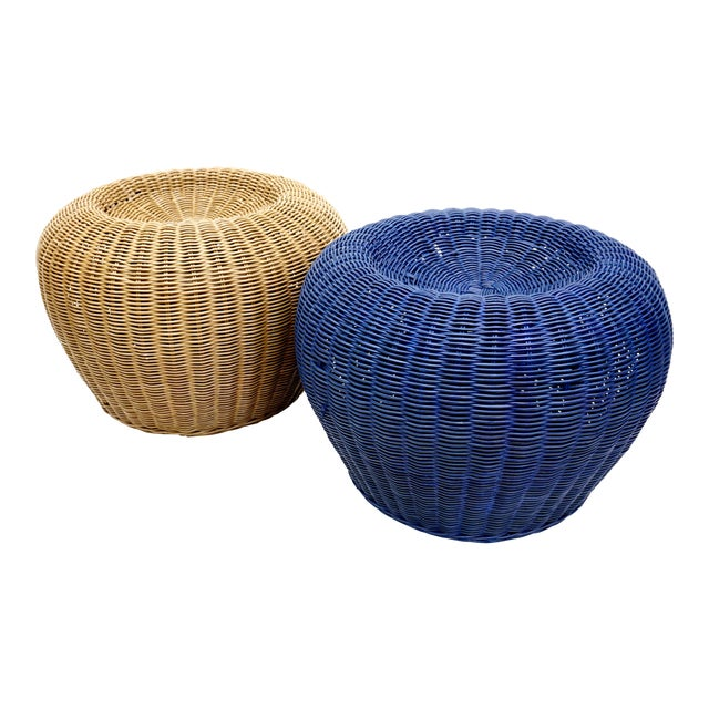 Vintage Woven Wicker Rattan Pouf Footstools Ottomans - Image 1 of 10