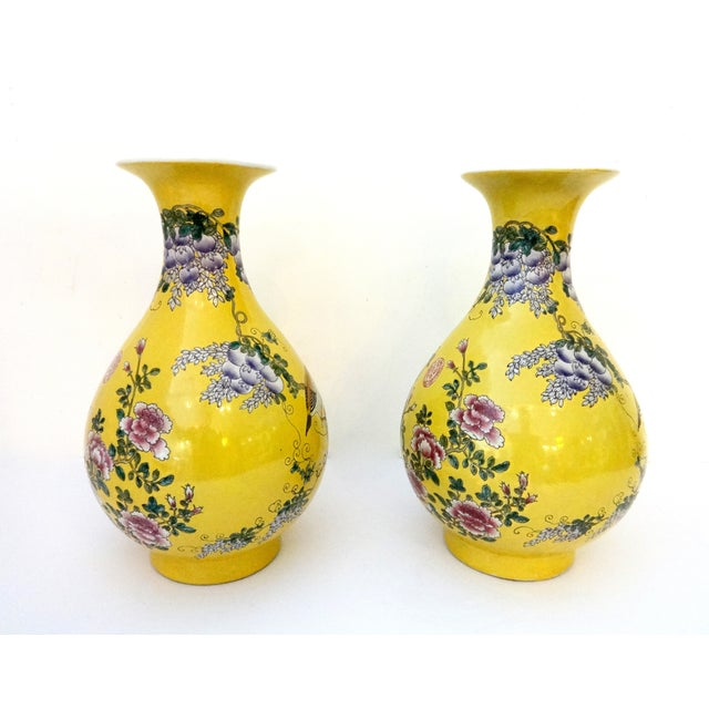 Yellow Famille Jaune Vases- A Pair - Image 6 of 7