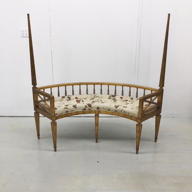 Boho Chic Hollywood Regency Curved Gilt Wood Settee For Sale - Image 3 of 10