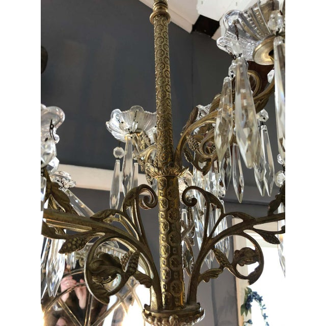 Cast Bronze and Crystal Candle Sconces -A Pair For Sale - Image 4 of 10
