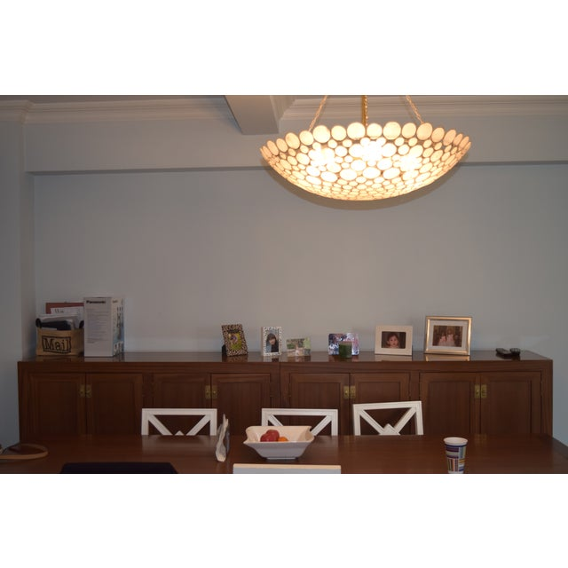 Contemporary Capiz Shell & Brass Bowl Chandelier For Sale - Image 3 of 5