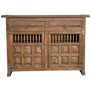 19th Century Catalan Baroque Carved Walnut Tuscan Two Drawers Credenza or Buffet For Sale