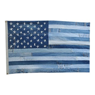 "Ralph Lauren Style Denim Patchwork American Flag Art Throw 58"" X 36"""