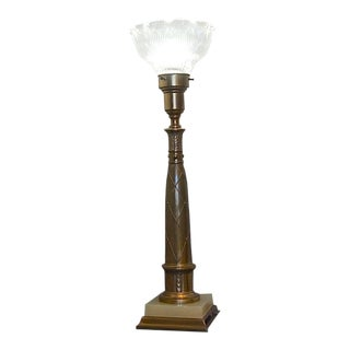 Vintage Brass Neoclassical Column Torch Lamp Celadon Stone Base Holophane Glass Shade For Sale