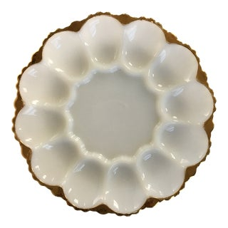 Mid Century Milk Glass & 22 Karat Gold Trim Egg Serving Platter For Sale