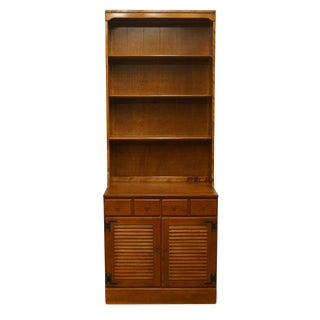 "20th Century Early American Ethan Allen Heirloom Nutmeg Maple 30"" CRP Shutter Door Cabinet With Bookcase Top For Sale"