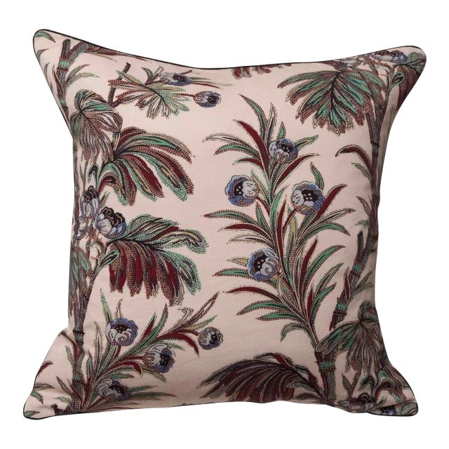 Boho Chic Indienne Floral Print Pillow For Sale
