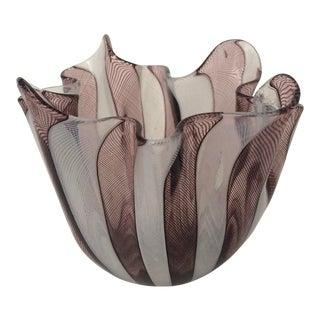 Venini Paolo Fulvio Bianconi Murano Italia Fazzoletto Zanfirico Glass Vase For Sale
