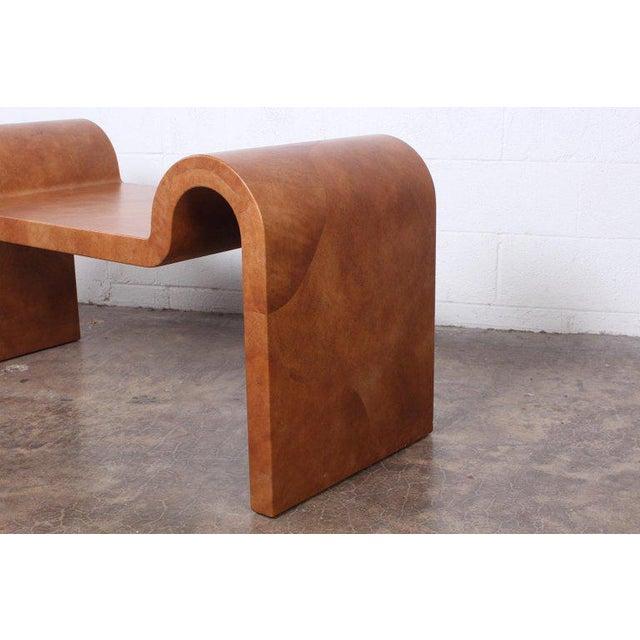 Karl Springer Goatskin Parchment Bench For Sale - Image 9 of 13