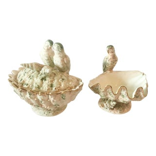 Vintage Italian Majolica Dishes With Birds and Shells - a Pair For Sale