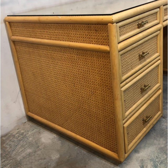 Chippendale Faux Bamboo and Rattan Desk For Sale - Image 3 of 6
