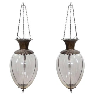 Late 19th C. Antique Drugstore Glass & Bronze Show Globes Chandeliers- A Pair For Sale