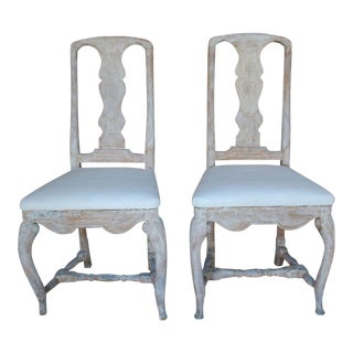 Pair of 18th Century Swedish Rococo Period Side Chairs For Sale