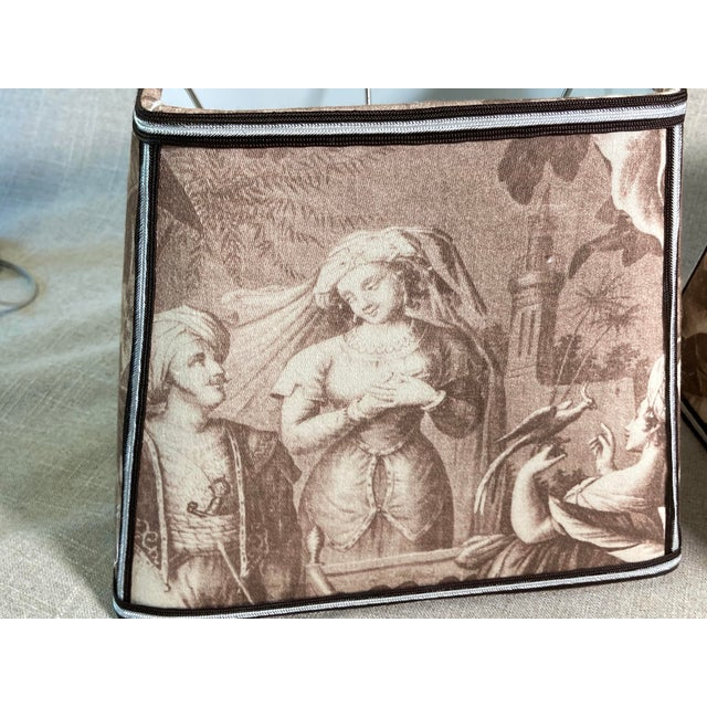 Sepia Toile Lampshades - a Pair For Sale In Philadelphia - Image 6 of 7