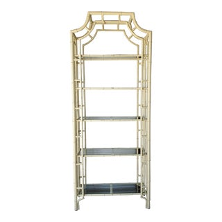 Faux Bamboo Metal and Glass Hollywood Regency Etagere For Sale