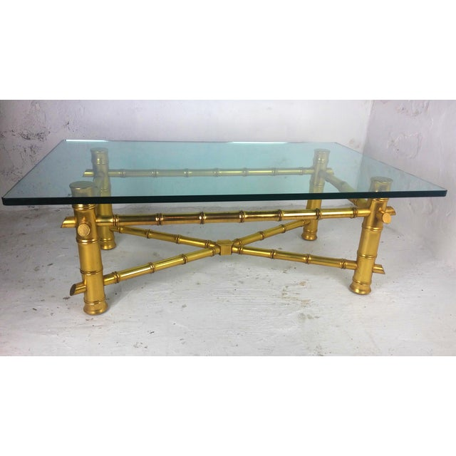 Hollywood Regency Gold Leaf Faux Bamboo Coffee Table Chairish